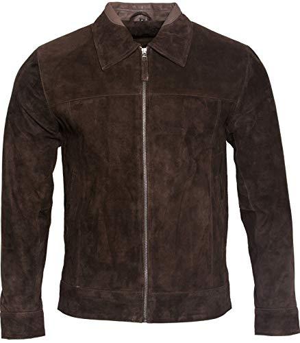 Herren Retro Braun 100% Ziegenleder Wildleder Harington Radfahrer Jacke 3XL Collection-wildleder-jacke