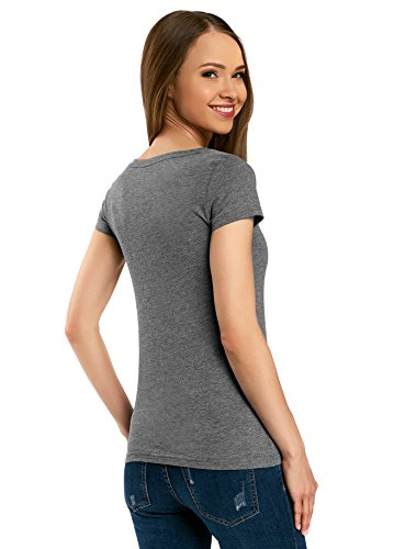 oodji Ultra Donna T-Shirt Basic in Cotone Grigio (2300M)