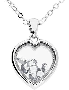 MYA art Halskette Herzkette Kette mit Herzanhänger und Swarovski Elements Charms Steinen Edelstahl Vergoldet Silber...