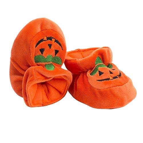 MonLook 1 Paar Kinder Babyschuhe Pumpkin Warm Halten rutschfeste Erste Walkers Learn Atmungsaktiv für Halloween - 12CM