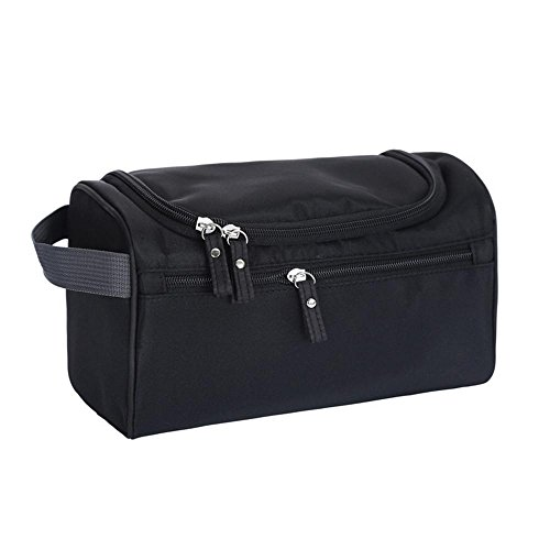 AOLVO Neceser colgante para hombre y mujer, kit de aseo para colgar de viaje, resistente al agua con bolsillos de malla y resistente gancho para colgar bolsa de ducha, negro, 25*14*15 CM