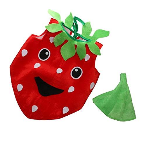 Frucht Kinder Kostüm - Morning May Erdbeerkostüm rot-schwarz für Kinder | Frucht Kostüm Faschingskostüm | Erdbeer Verkleidung | Einteiler Obst Kostüm mit Hut