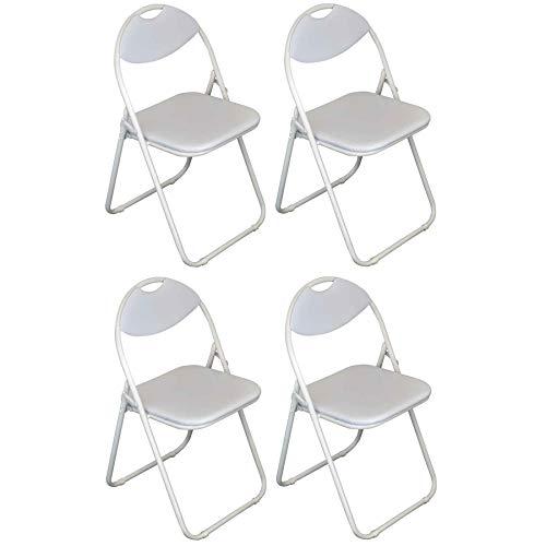Chaise pliante rembourrée - pour le bureau - entièrement blanche - lot de 4