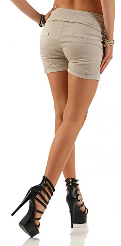 Damen Hotpants Shorts Kurze Hose Chino Bermuda Pants in angesagten Farben ( 554 ) Beige