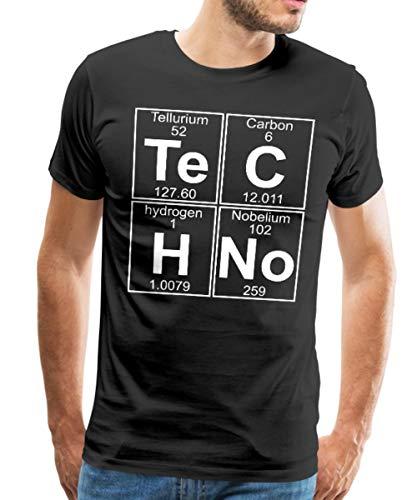 Spreadshirt Techno Chemie Periodensystem Te C H No Männer Premium T-Shirt, M, Schwarz