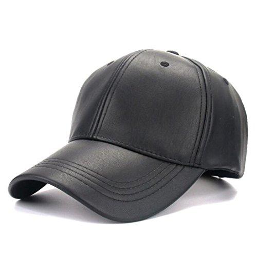 Kuyou Unisex Klassische PU Leder Baseball Cap Sports Outdoor Basecap Kappe (Schwarz) (Damen Schwarze Leder-baseball-cap)