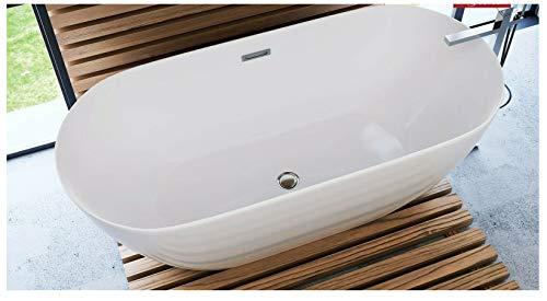 freistehende Acryl Badewanne 170x80x60cm weiß OLVENA inkl Siphon und Click-Clack