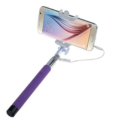 ARTLU® Selfie-Stange Selfie-Stick Teleskop-Stange Selfie Stick in 9 verschiedenen Farben Monopod Selfie Einbeinstativ Ausziehbare Stick (Nein Bluetooth) mit Einstellbaren Klemme für Smartphones, iPhone, Samsung, Huawei, LG, Sony--lila