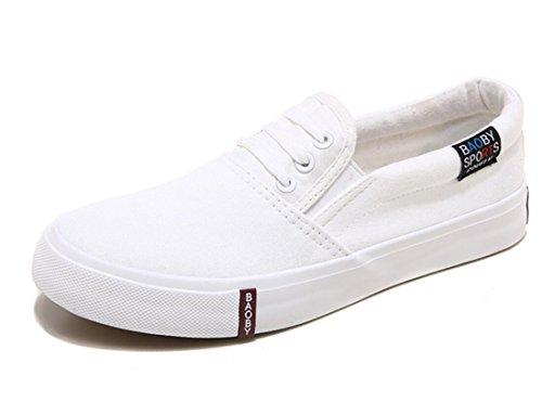 SHFANG Lady Shoes Un pedale Lazy shoes Movimento telaio Confortevole Tempo libero Studenti Scuola Daily Shopping White