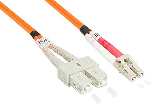 Good Connections  OM2 LWL Kabel - DUPLEX - Stecker LC an SC - Multimode 50/125 - Lichtwellen-Leiter, Glasfaser-Kabel, Patchkabel - OM2 Faser für 1 und 10 Gigabit/s Ethernet - 0,5 m -
