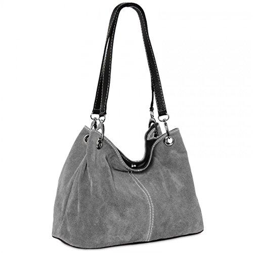 CASPAR TL580 Damen Handtasche aus hochwertigem Wildleder, Farbe:cognac CASPAR Fashion