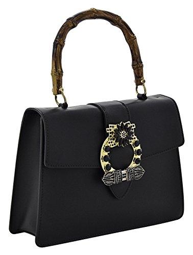 ALESSIA Henkeltaschen Schultertaschen Handtaschen Tasche Damen Echtes Leder Made in Italy Schwarz