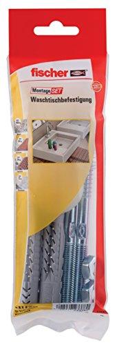 Waschtisch-befestigung (fischer MontageSet Waschtischbesfestigung B, mit 2 x Universaldübel UX 14 x 75, 2 x Stockschraube 10 x 140 gvz, 2 x Bundhülse, 2 x 6-kant-Mutter M 10 gvz - 1 Stück - Art.-Nr. 534574)