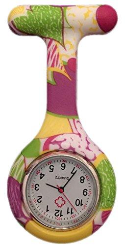 Boolavard TM Orologio da infermiere in silicone con spilla - orologio tascabile Giallo + Viola