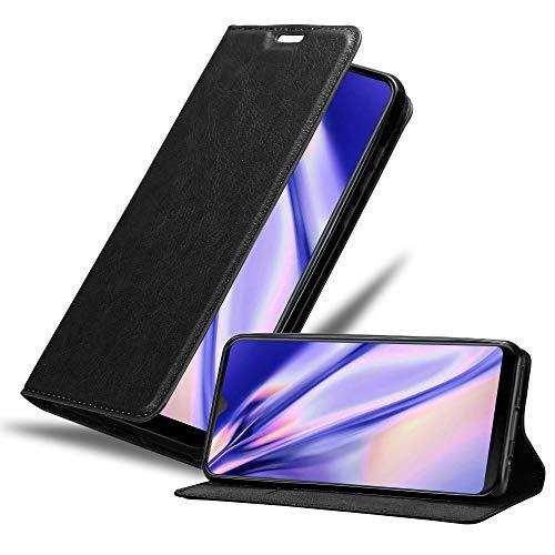 Cadorabo Hülle für HTC Desire 19+ in Nacht SCHWARZ - Handyhülle mit Magnetverschluss, Standfunktion und Kartenfach - Case Cover Schutzhülle Etui Tasche Book Klapp Style