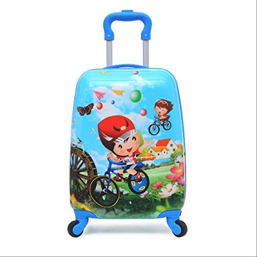 Valigia Per Bambini DXWF Cartone Animato Bambini Viaggi Trolley Case Bambino Bagaglio Bambini Double Side Modello Scatola Casella Di Scorrimento Scatola Da Viaggio 40/30-20CM Come mostrato
