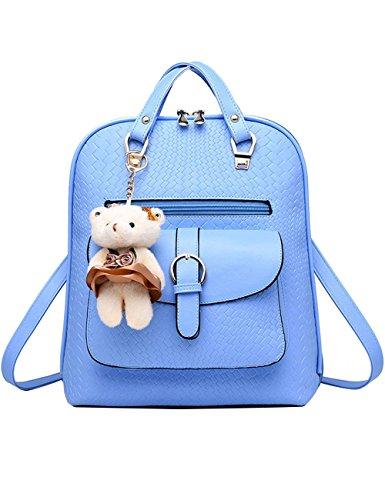 Menschwear PU Zaino Satchel Daypack sacchetto di scuola Nero Cielo Blu