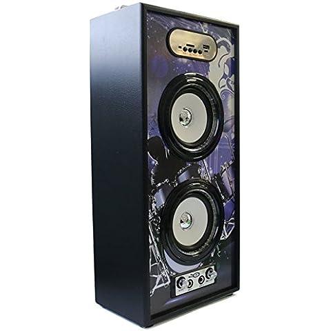 Karaoke Altavoz Portátil Inalámbrico Bluetooth 20W Adaptable Al Micrófono Estéreo Subwoofer Reproductor de Música Led Luz Estilo Roca Música Altavoz Manos Libres Compatible con USB Pendrive Tf Card