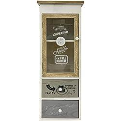 Mobili Rebecca® Aparador Mueble con Vitrina Cocina 1 Puerta 2 Cajones Madera Gris Blanco Vintage Sala de Estar(Cod. RE4487)