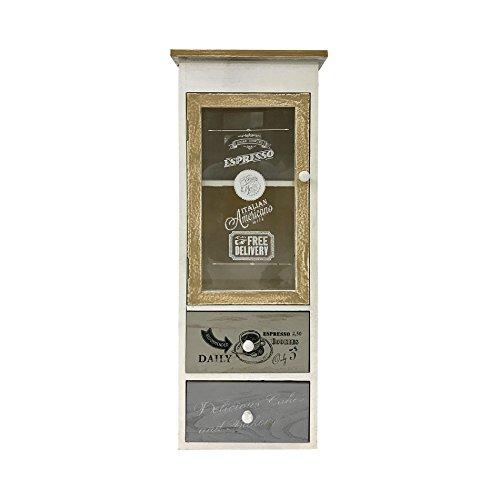 Mobili Rebecca® Vetrinetta Cucina Credenza 1 Anta 2 Cassetti Legno Grigio Bianco Vintage Soggiorno (Cod. RE4487)