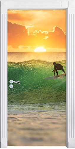 Navigare sul tramonto, surf come una carta da parati porta, formato: 200x90cm, telaio della porta, adesivi porta, porta decorazione, autoadesivi del portello