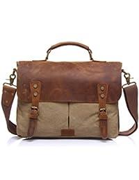 """stepack marca Vintage Canvas de hombre de piel auténtica bolso de mano maletín para portátil de 14"""", 36cm * 10cm * 28cm (L * W * H)"""