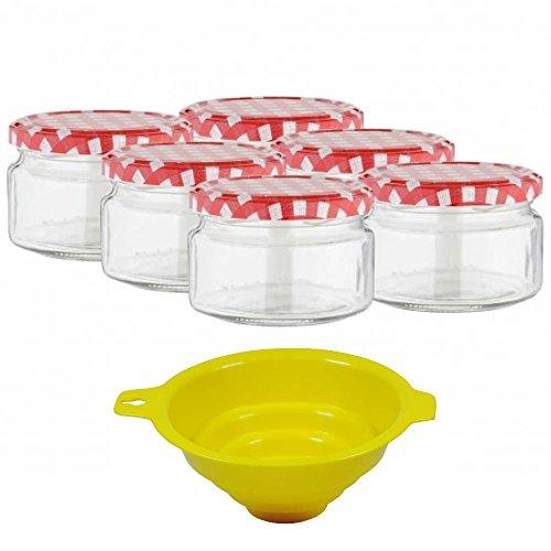 Viva Haushaltswaren - 6 x kleines Marmeladenglas / Einmachglas 250 ml mit Deckel, Twist-off Gläser Set rund - als Einweckgläser, Vorratsdosen etc. verwendbar (inkl. Trichter) 250 Ml-dose