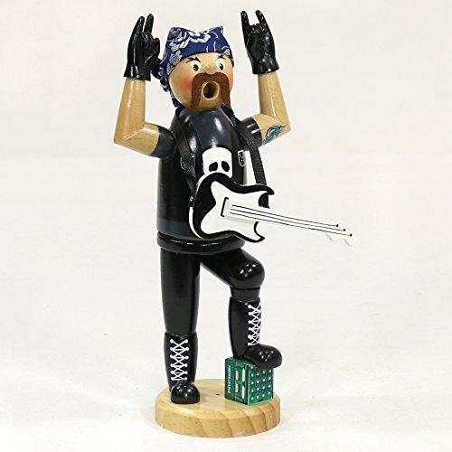 Unbekannt Sigro Heavy Metal Räuchermännchen Figur mit Gitarre und Kopftuch, 20cm, Holz, schwarz, 10x 6,5x 21cm