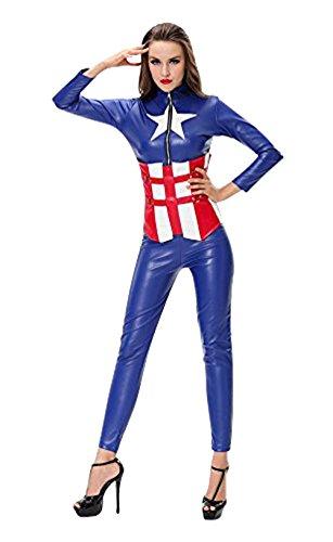 3 Stück Damen Qualität Kunstleder Captain America Bodysuit und Korsett Kostüm Größe 38