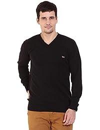 TAB91 Men's Cotton Rich Black Solid V Neck Pullover