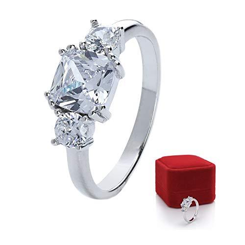 prettique Stars&Royals Damen Ring Meghan - 925 Sterling Silber - Zirkonia Steine - Silberring - Royaler Verlobungsring aus dem britischen Königshaus - Empfohlen von Bunte.de