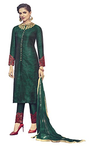 Heart & Soul Designer Wedding & Party Wear Fully Stitched Embroidery Designer Salwar Suits Dupatta XL size for Women (Green)
