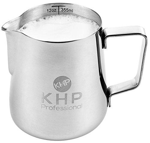 Milchkännchen 350ml von KHP Professional, perfekt für Milchaufschäumer, aus rostfreiem Edelstahl, Milch aufschäumen, silber, Milchkanne, Cafe Art, Milchschaum, Aufschäumkännchen - 2