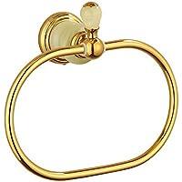 Comparador de precios Bathine Europea anillo de toalla de cobre de jade natural y dorado metálico colgante estadounidense anillo circular de toallas toallero - precios baratos