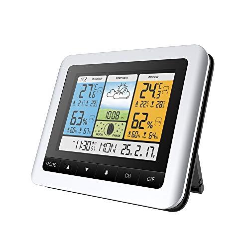 OurLeeme Station météo, Baromètre sans Fil Écran à Cristaux liquides Capteur extérieur intérieur Température extérieure Hygromètre Horloge météo avec capteur extérieur