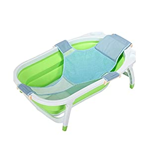 Baby Bath Seat Support Bath tub, Newborn Baby Shower Net Mesh Bathtub, Safe and Adjustable Baby Bed with Netting for Infant Bathing Cradle Rings Sling