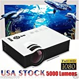 SLB Works Brand New 5000 Lumen HD 1080P LED LCD Projector MULTIMEDIA Home Theater Cinema HDMI USB