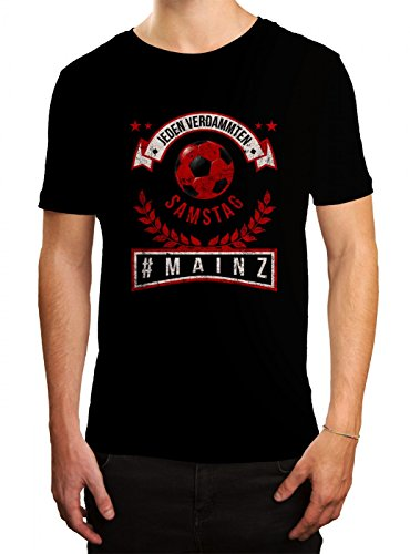 Mainz #1 Premium T-Shirt | Fussball | Fan-Trikot | #Jeden-Verdammten-Samstag | Herren | Shirt, Farbe:Schwarz (Deep Black L190);Größe:L (Fußball-trikot Bell)