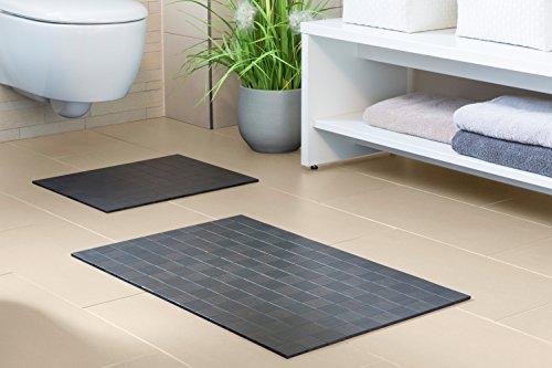 Badteppich KARO Ebony Aus Bambus 40 X 50 Cm Teppich Rutschfest Bambusmatte  Badematte Bad Badezimmer Saunamatte WC  Vorleger Markenprodukt Von  DE COmmerce ...