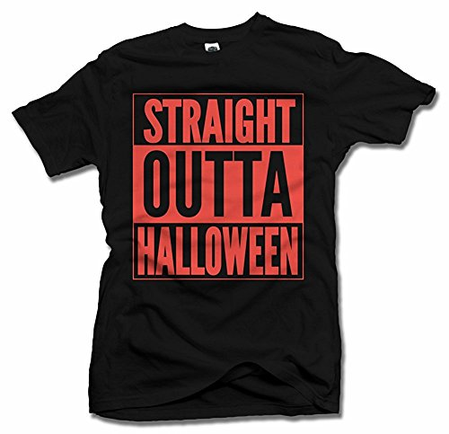 STRAIGHT OUTTA HALLOWEEN Black Men's Tee (6.1oz)