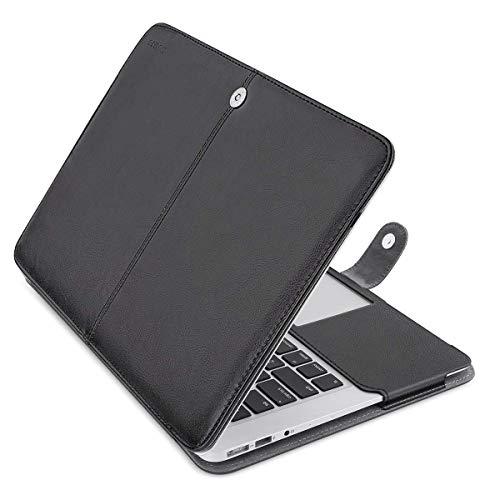 MOSISO Hülle Kompatibel MacBook Air 13 Zoll, Premium Qualität PU Leder Schlanke Schutzhülle Tasche Cover Kompatibel MacBook Air 13 Zoll (A1369 / A1466), Schwarz (Fall Macbook A1466 13 Air)