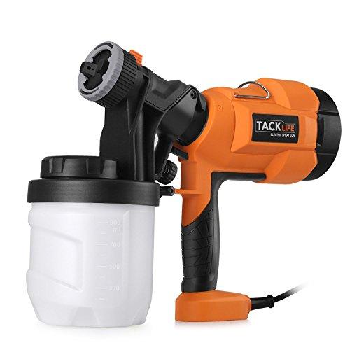 Tacklife sgp15ac pistola a spruzzo elettrica 400 w, 3 modalità di pittura, serbatoio 900 ml e imbuto rimovibile, nero/arancio/bianco