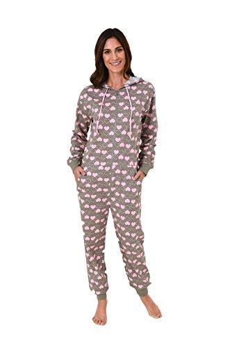 Cooler Damen Jumpsuit langarm, toller Einteiler Overall mit Herz Alloverdruck 59534, Größe:36/38;Farbe:grau (Cooler Pyjama)