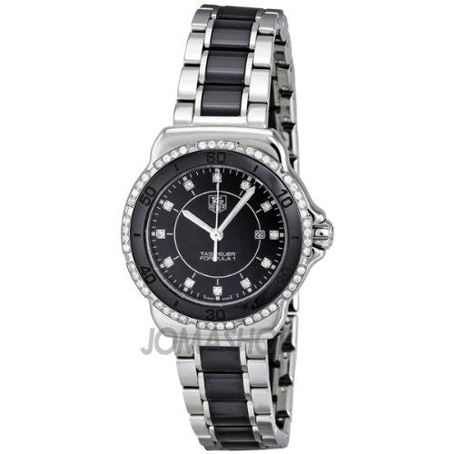 Tag Heuer etiqueta Heuer fórmula 1 Negro Dial Acero y Cerámica Damas Reloj WAH1312.BA0867