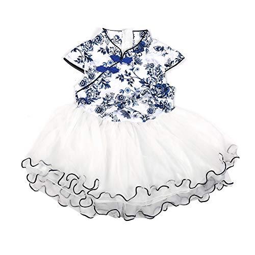 Blumenmuster-Ballettröckchen-Kleid für Babys weicher Garn-Leistungs-Rock binden Säuglingstanz-Kleid(Blaues und weißes - Tutu Grande Kostüm