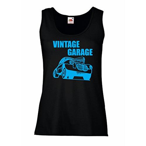 lepni.me Femme Débardeur sans Manche Garage Vintage - équipement datelier, Vêtements Automobile Noir Bleu