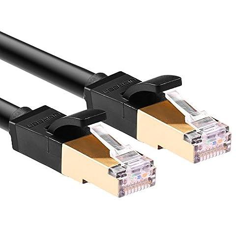 Ethernet Patchkabel UGREEN Cat7 3m Gigabit Lan Netzwerkkabel 10Gbps 600Mhz/s STP molded Verlegekabel für Switch, Router,PS3, PS4, Netzwerkadpter, PC, DSL-Modem, Dlan Adapter,Netzwerkdose, Patchpannel, Access Point, Patchfelder, 3m schwarz