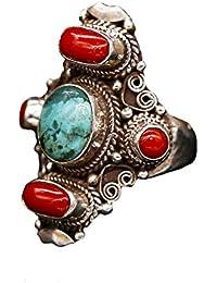 Anillo Tibetano Piedra Preciosa Turquesa Coral Plata de Ley 925 100% Artesania #105