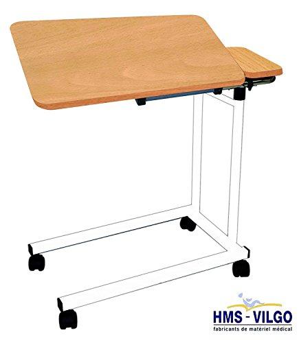 Francese-made tavolo dual-regolabile sul letto - modello AC305 (cornice bianca con la parte superiore faggio chiaro)