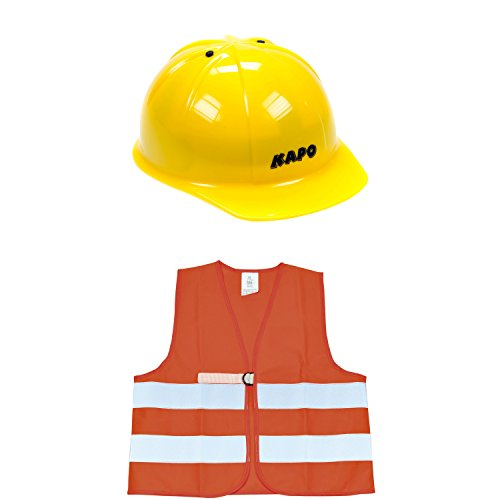 Eduplay casque de chantier et gilet fluorescent de sécurité pour enfants en Set